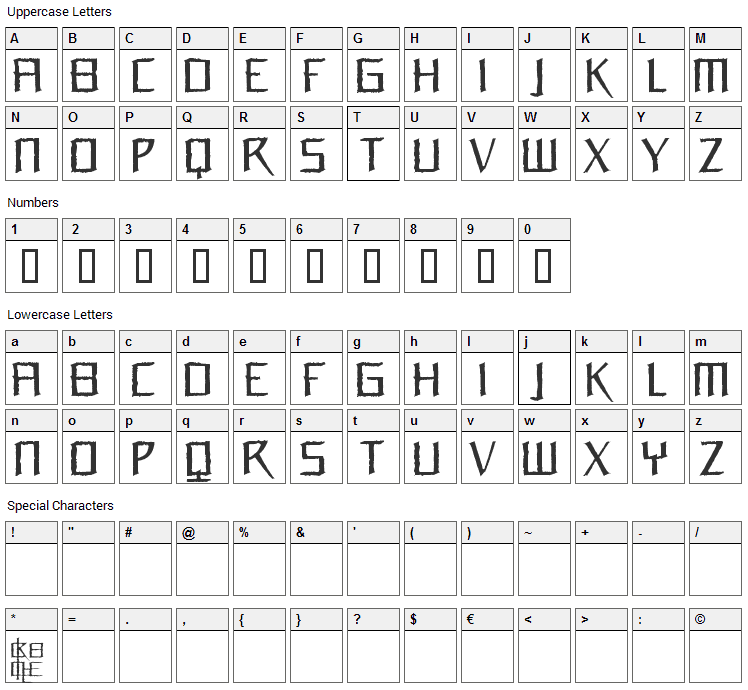 Orchidee Font Character Map