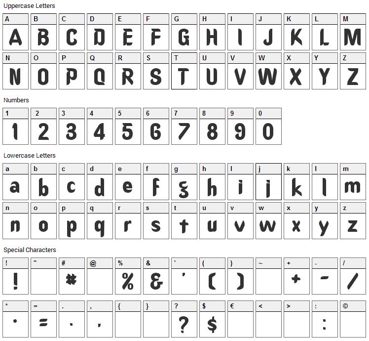 Oregon Dry Font Character Map