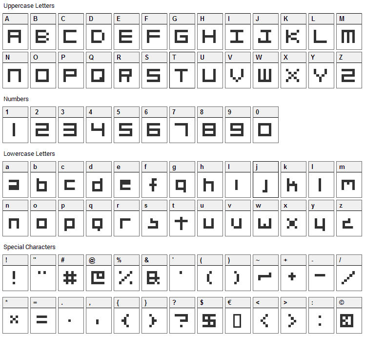 Org_v01 Font Character Map