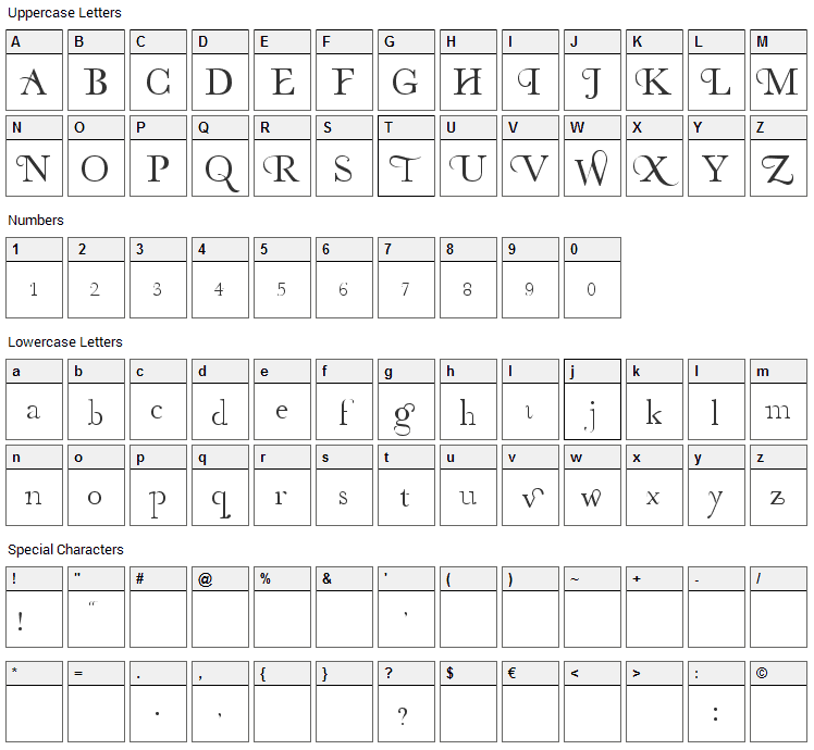 Organic Elements Font Character Map