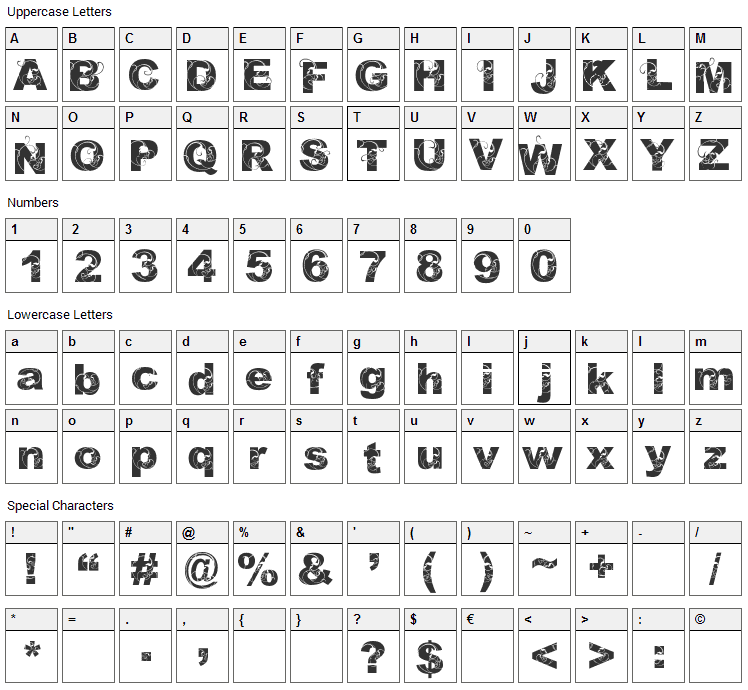 Orial Font Character Map
