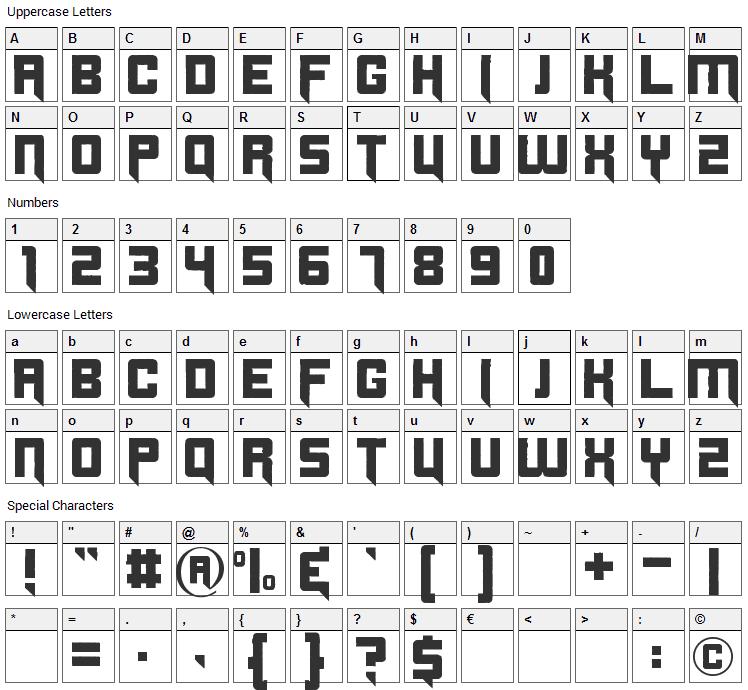 Origicide Font Character Map