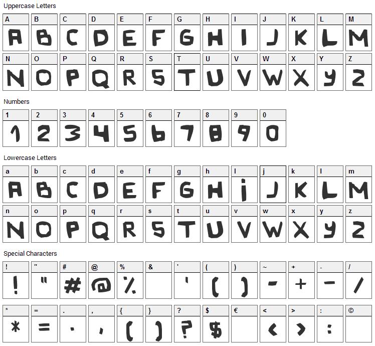 Original Olinda Style Font Character Map