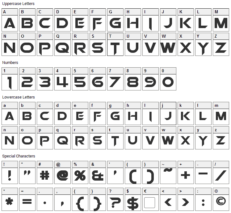 Orion Pax Font Character Map