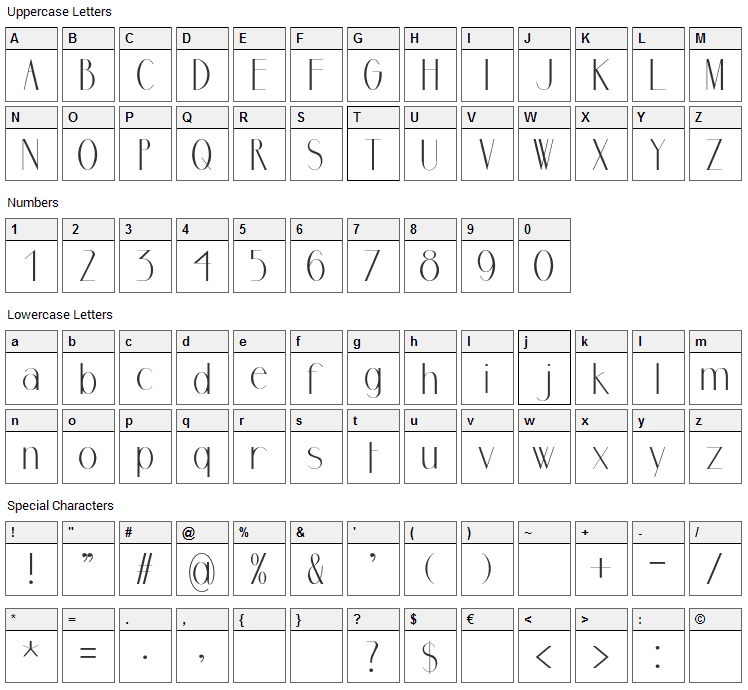 Ormont Font Character Map