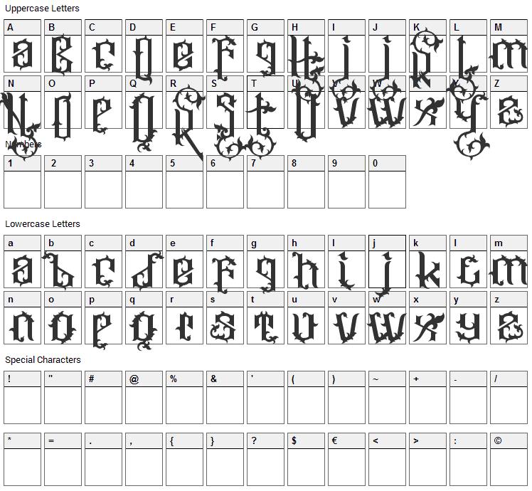 Ornatix Font Character Map