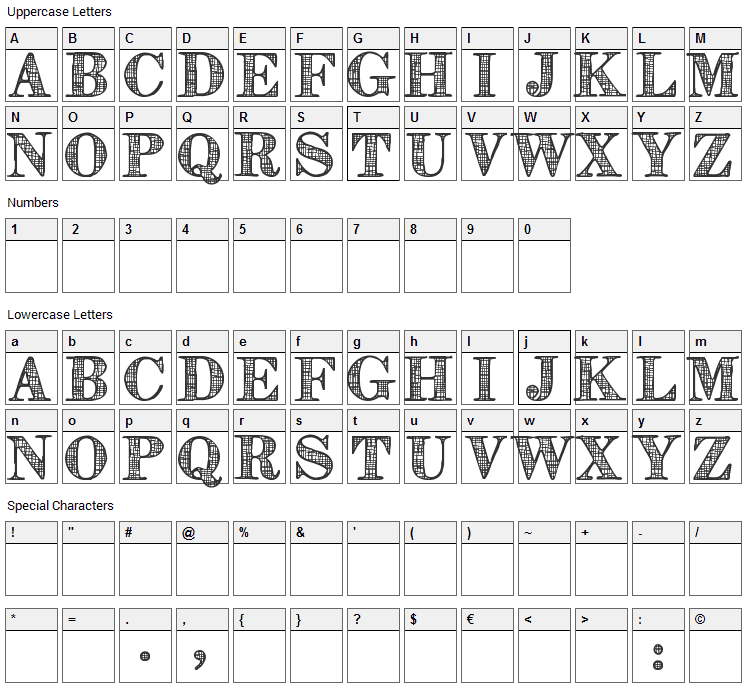 Orniste Font Character Map