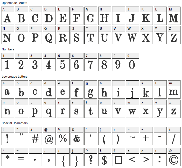 Orwell Font Character Map