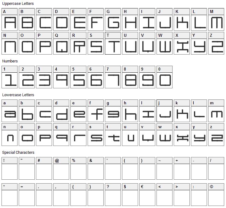 Oscilloscope Font Character Map