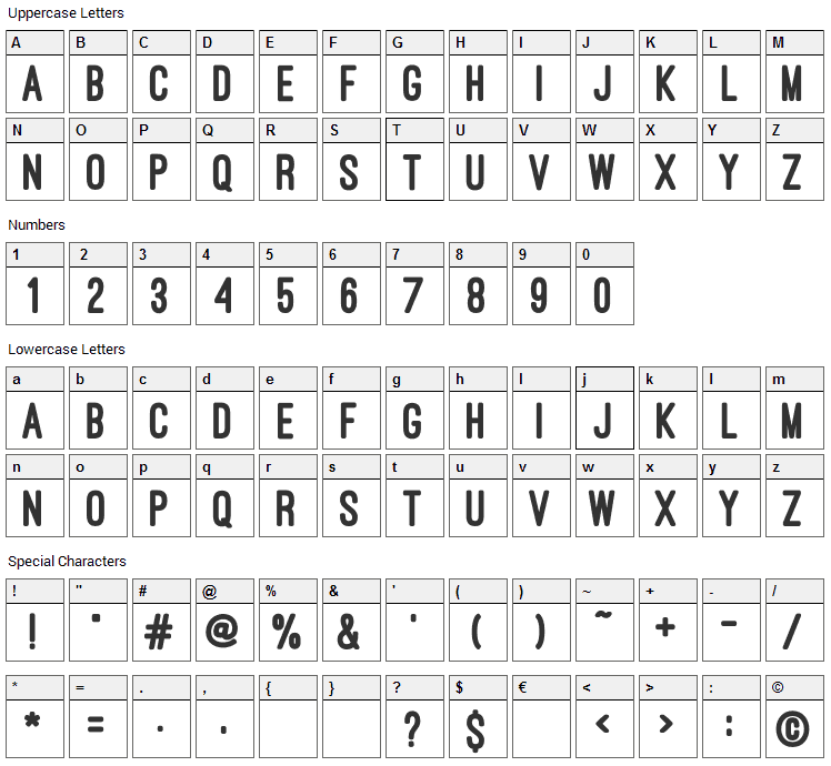 Ostrich Sans Heavy Font Character Map