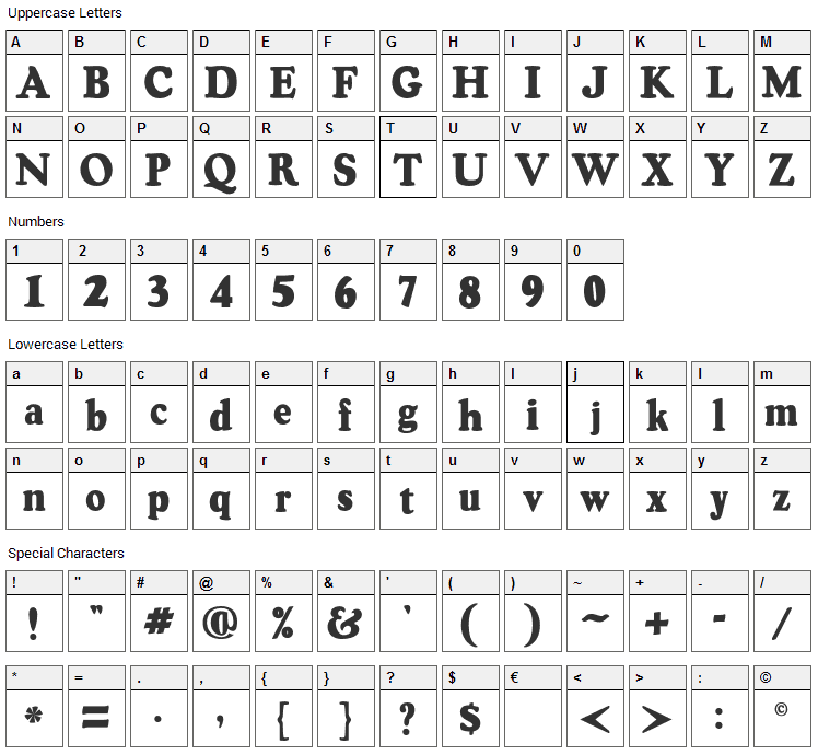 Oswald Black Font Character Map