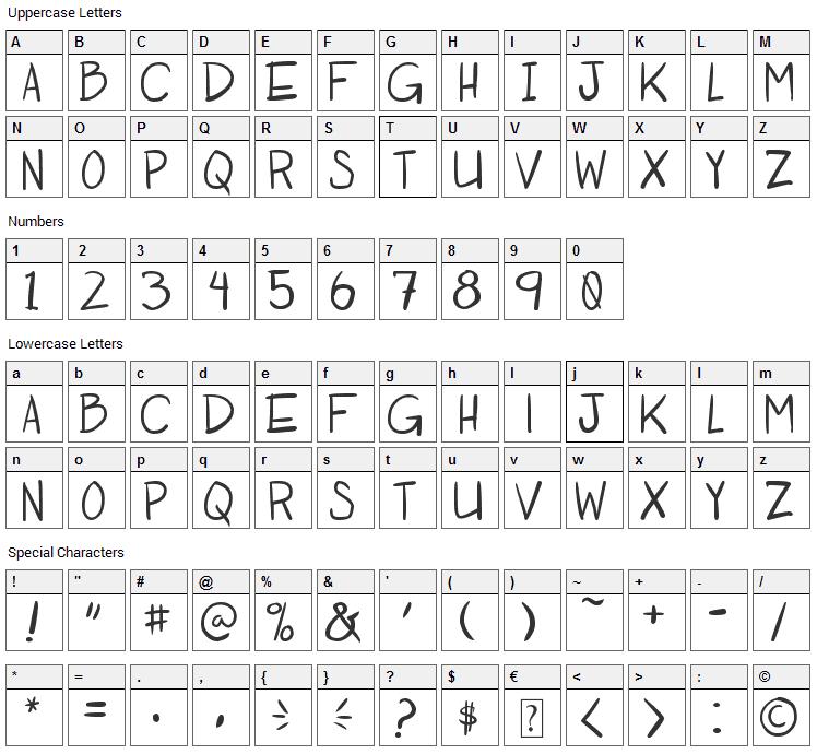 Otaku Rant Font Character Map