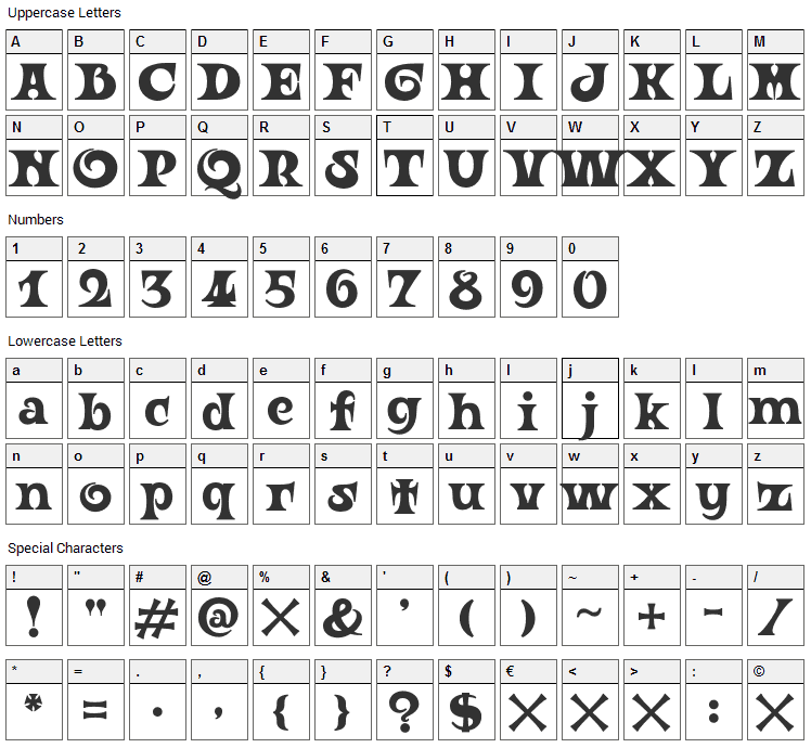 Ouroboros Font Character Map