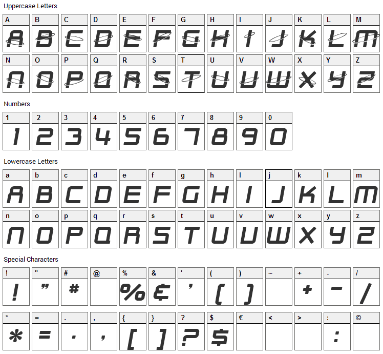 Outer Limits Font Character Map