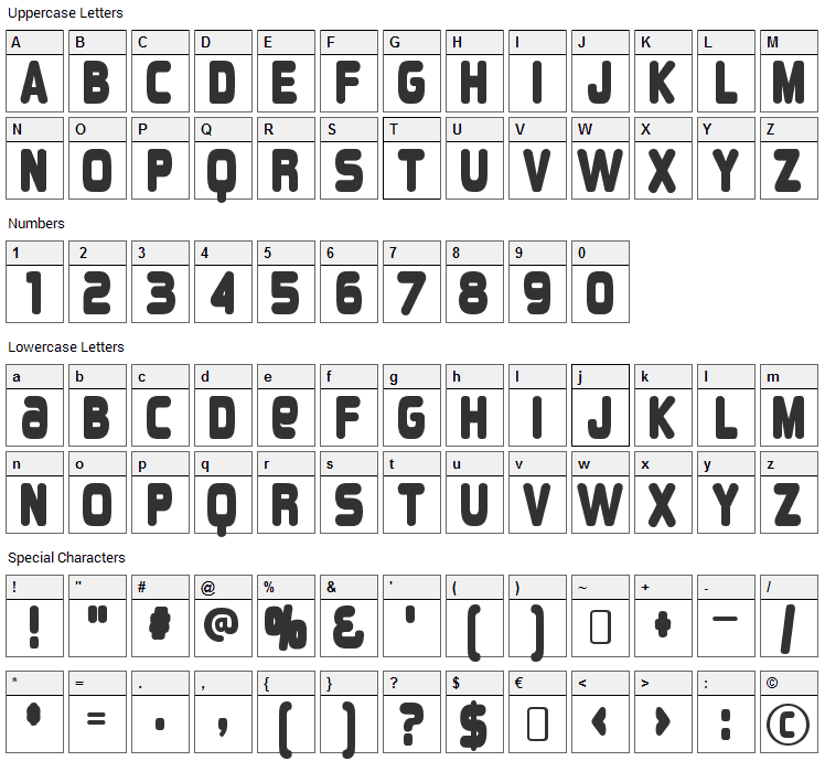 Overload Font Character Map