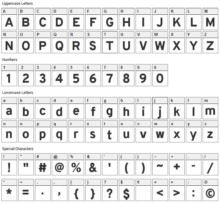 Overpass Font Character Map
