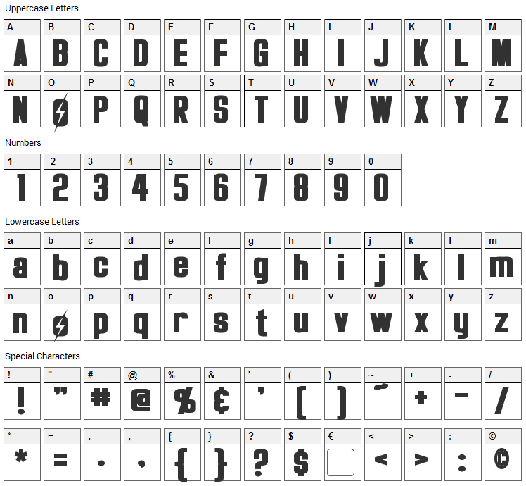 Overseer Font Character Map