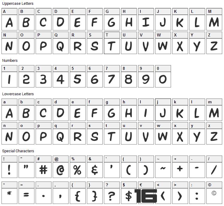 Overstreet Bible Font Character Map