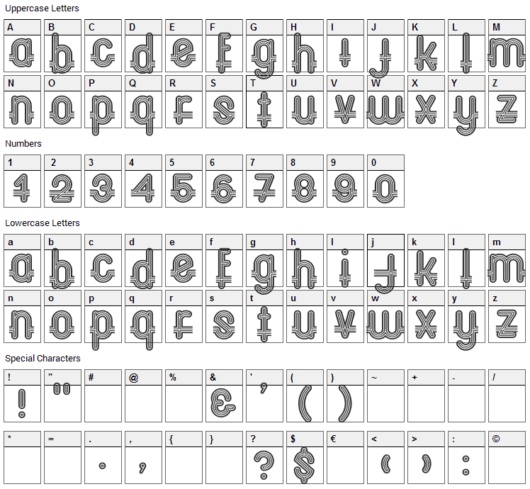 Oxford CP Font Character Map