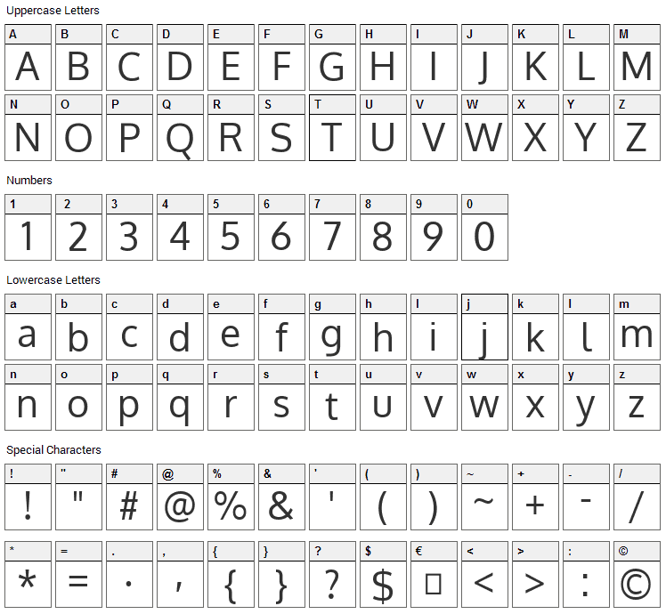Oxygen Font Character Map