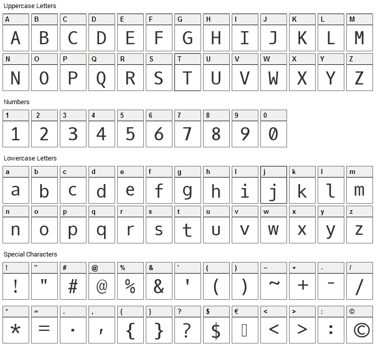 Oxygen Mono Font Character Map