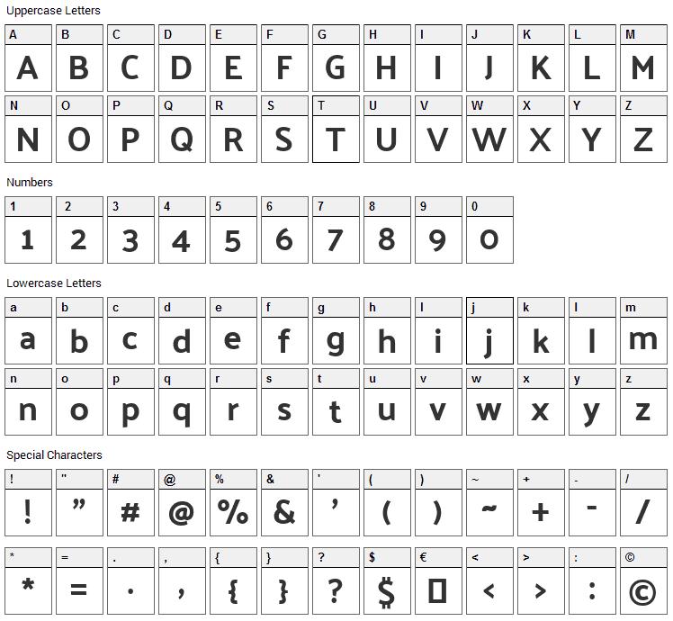 Palanquin Dark Font Character Map