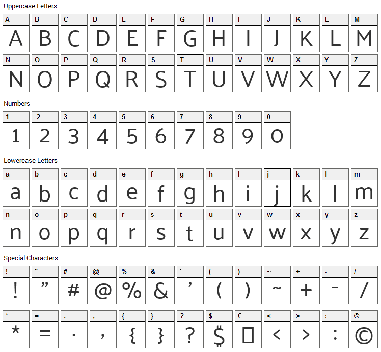 Palanquin Font Character Map