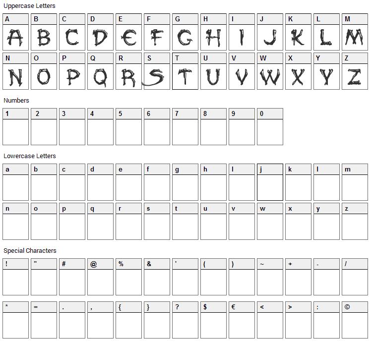 Paleos Font Character Map