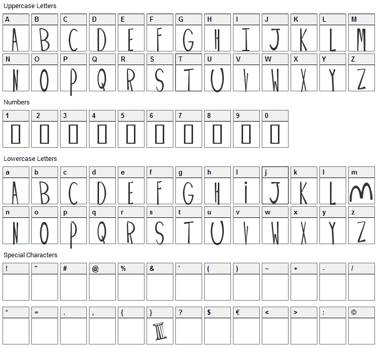 Palimpus Font Character Map