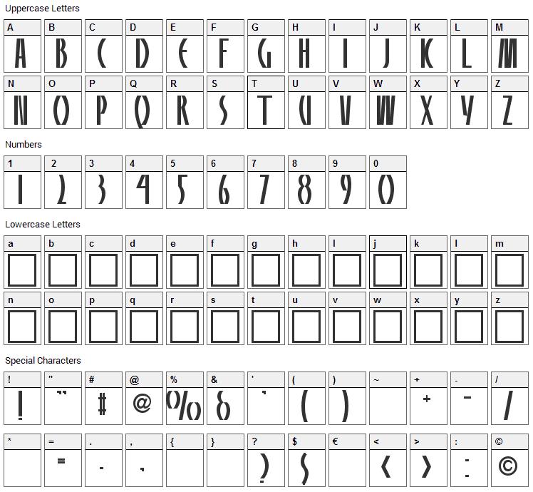 Panelite Font Character Map