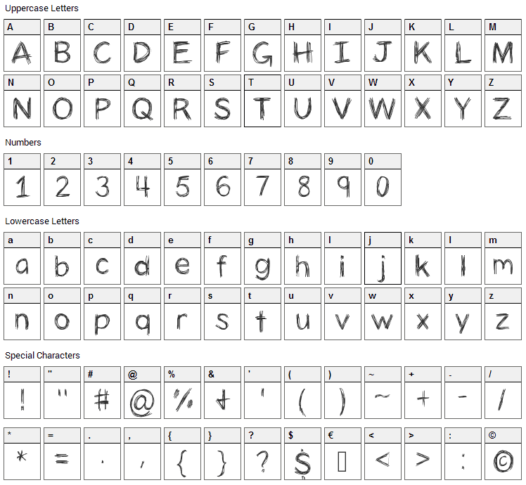 Panic Stricken Font Character Map