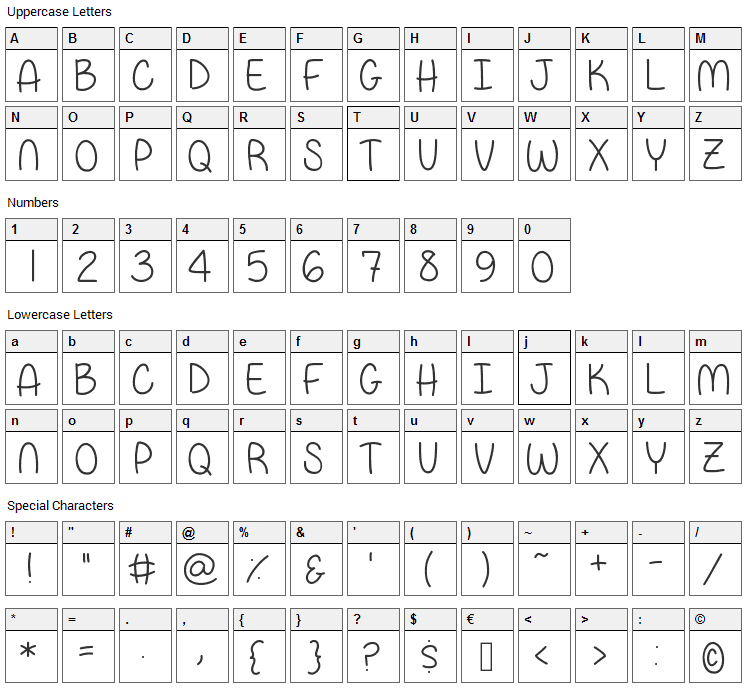 Papa Bear Font Character Map