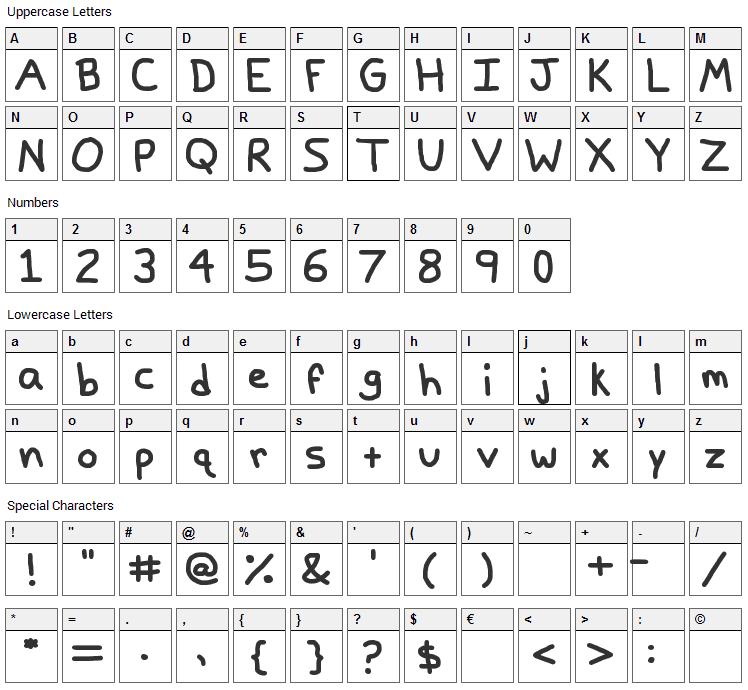 Papa Grape Font Character Map