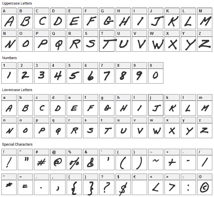 Papa Mano Font Character Map