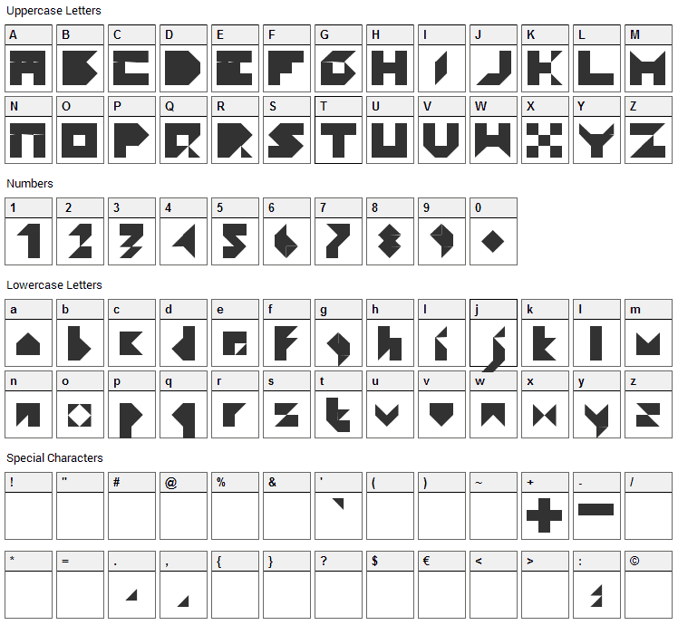 Paper Font Character Map