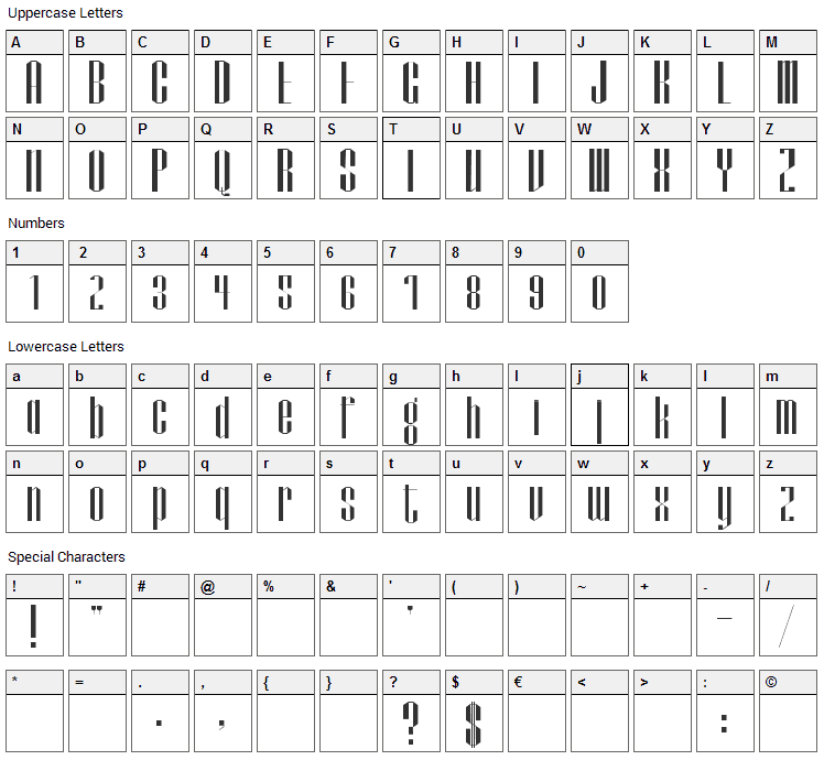 Papercut Font Character Map