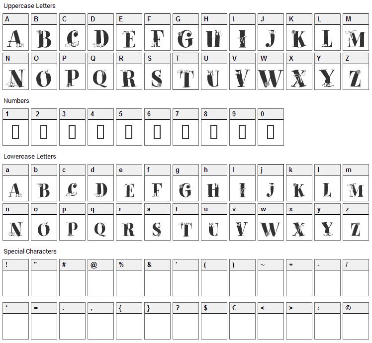 Paquet Cadeaux Font Character Map