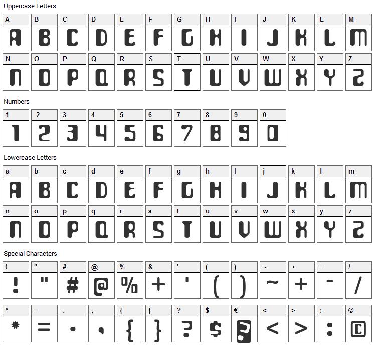 ParaAminobenzoic Font Character Map