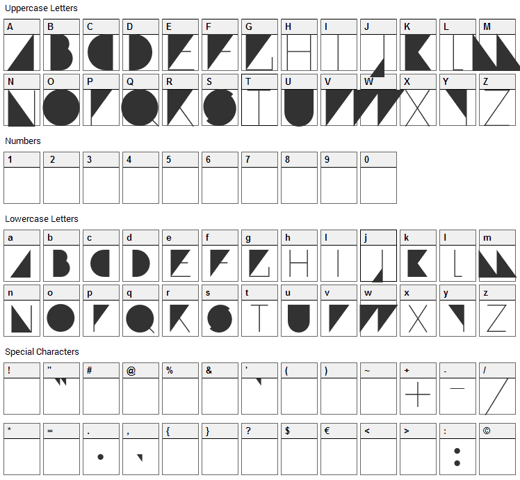 Paranoid Font Character Map
