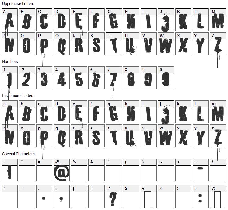 Parents Suck Font Character Map
