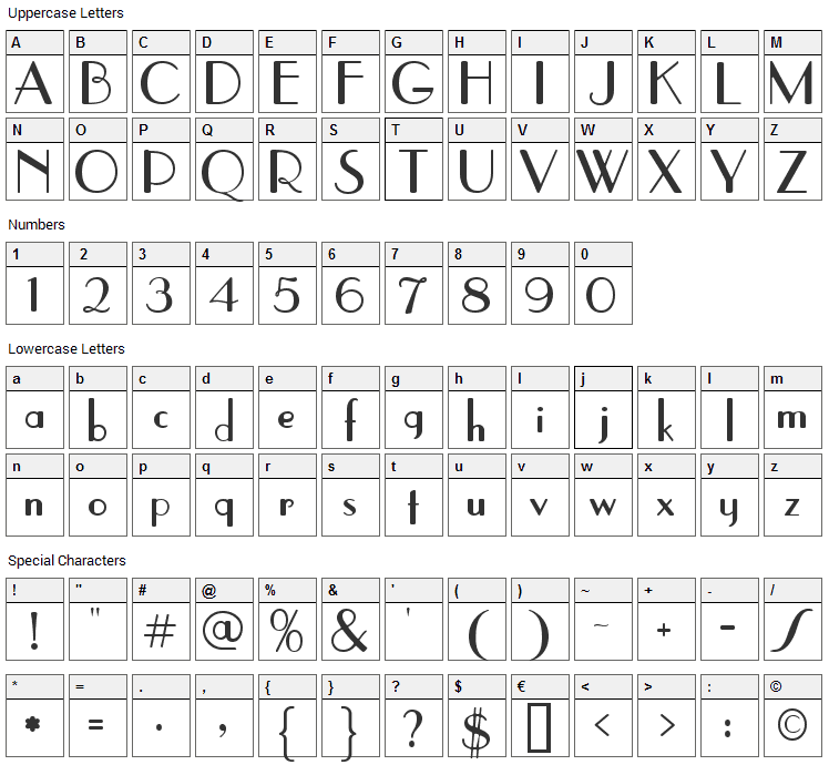 Parisish Font Character Map