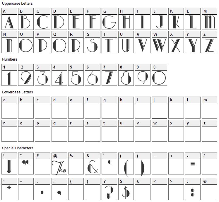 Park Lane Font Character Map