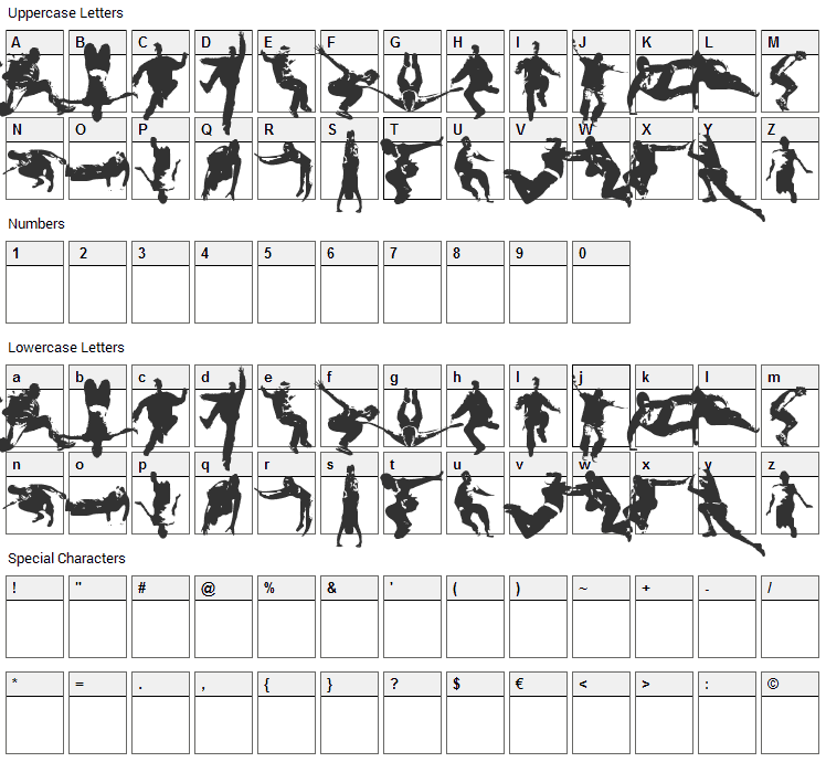 Parkour Font Character Map