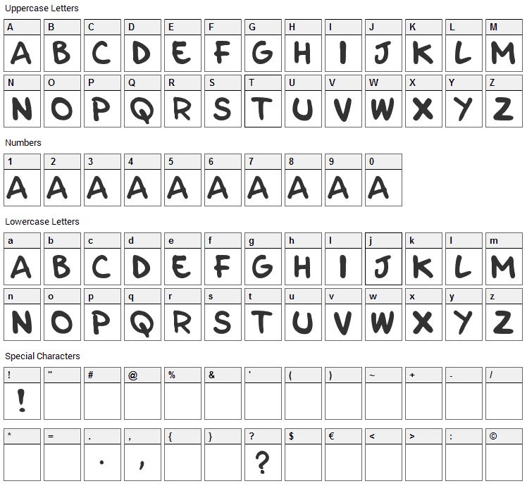 Parla Font Character Map