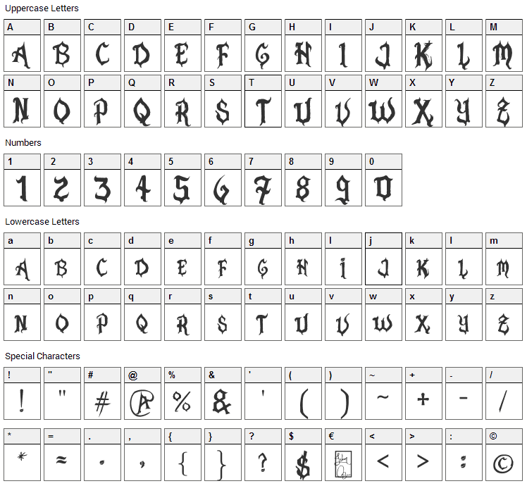 Pasion Acustica Font Character Map