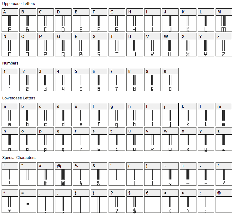 Paskowy Font Character Map