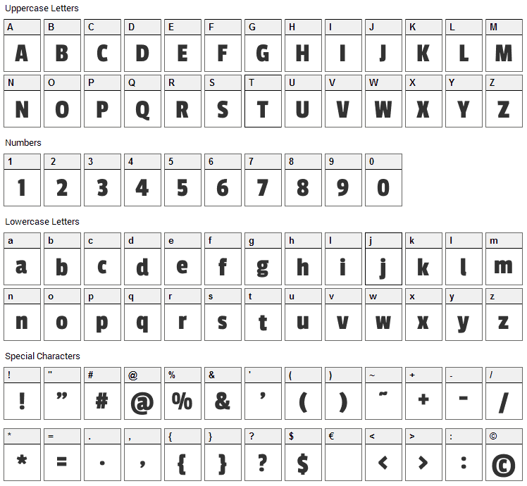 Passion One Font Character Map