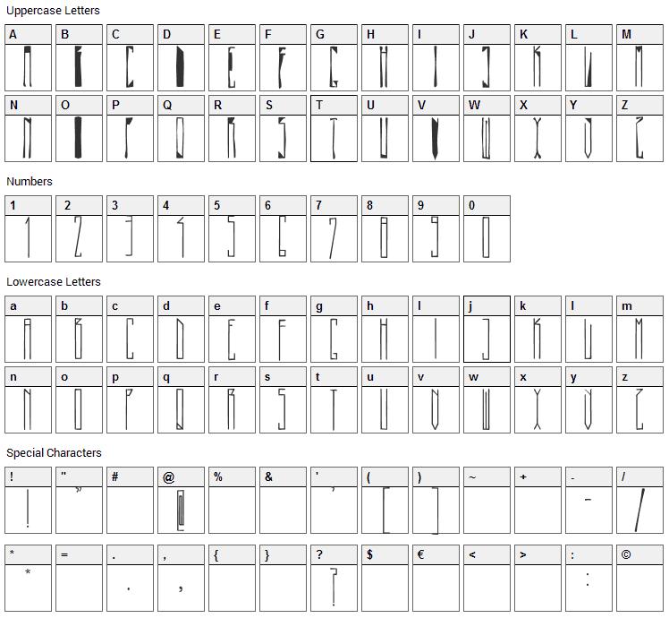 Pasta Simpla Font Character Map