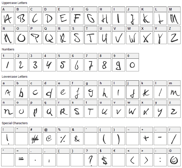 Paul PC Font Character Map