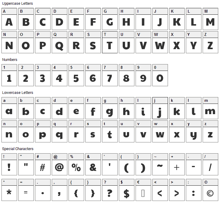 Paytone One Font Character Map